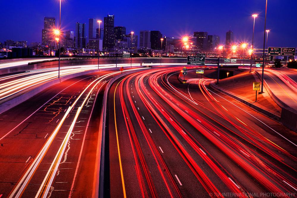 Denver Skyline & Interstate 25.