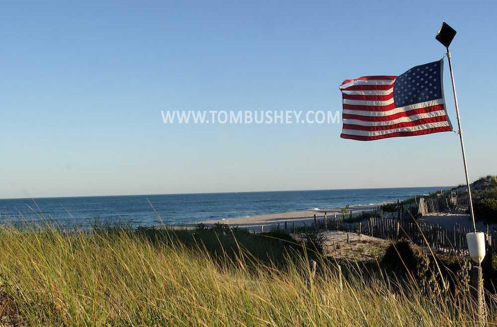 Beach Haven, NJ - An American flag blows in the afternoon breeze by the beach at Long Beach Island on July 12, 2007.