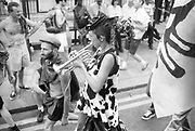 Ravers getting musical, 2nd Criminal Justice March, Victoria, London, UK, 23rd of July 1994.