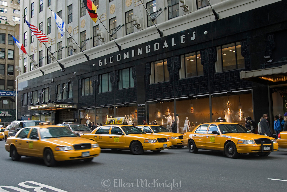 Taxis Outside of Bloomingdale's Department Store