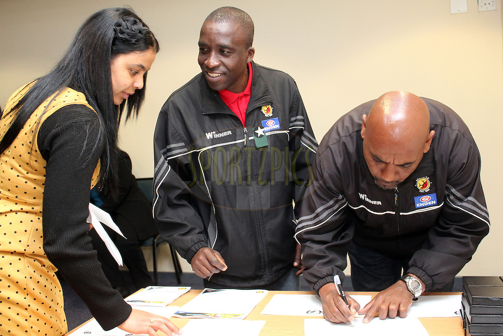 Guests and officials during registration of the Engen Santos pre-season Media conference held at Athlone Stadium in Cape Town on the 11th September 2012. Photo by Jacques Rossouw/ SPORTZPICS..