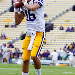 November 25, 2011; Baton Rouge, LA, USA; LSU Tigers quarterback Stephen Rivers (16) against the Arkansas Razorbacks prior to kickoff of a game at Tiger Stadium. LSU defeated Arkansas 41-17. Mandatory Credit: Derick E. Hingle-US PRESSWIRE