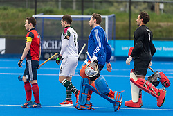 The teams walk out before the final. Hampstead & Westminster v Surbiton - Men's Hockey League Final, Lee Valley Hockey & Tennis Centre, London, UK on 29 April 2018. Photo: Simon Parker