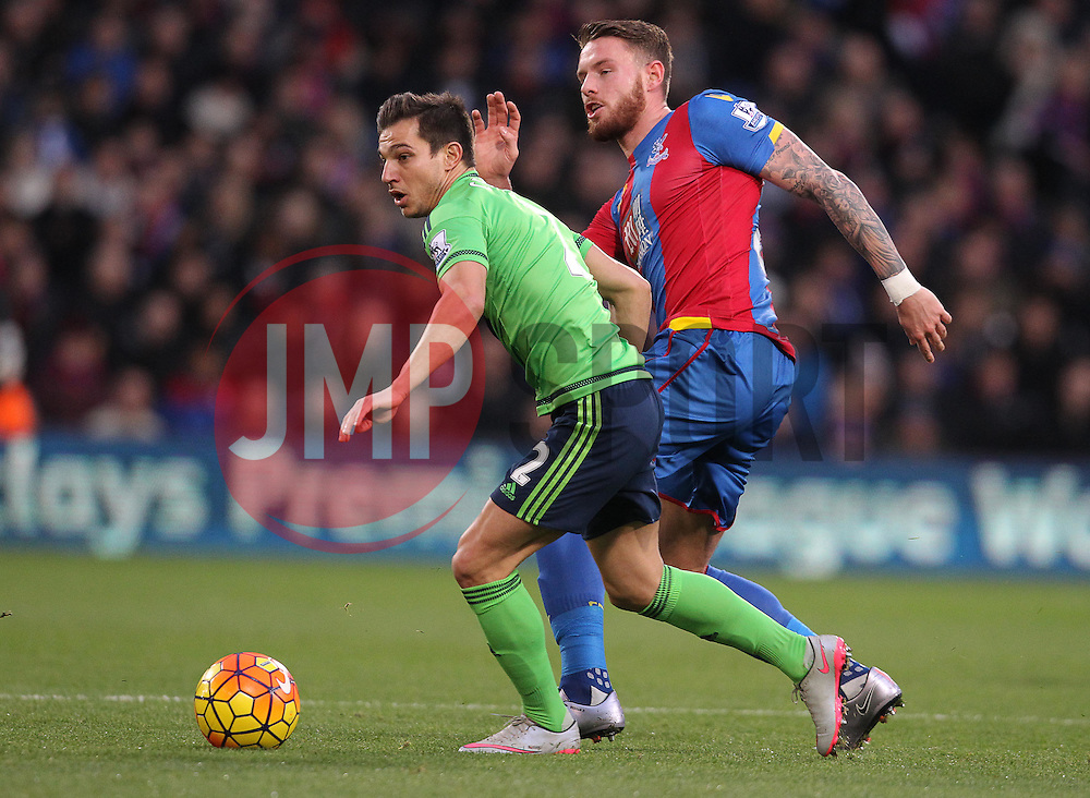 Connor Wickham of Crystal Palace and Cedric Soares of Southampton challenge for the ball - Mandatory byline: Paul Terry/JMP - 12/12/2015 - Football - Selhurst Park - London, England - Crystal Palace v Southampton - Barclays Premier League