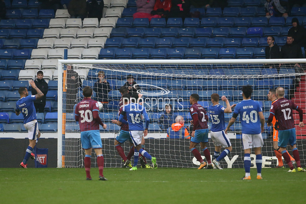 Craig Davies Oldham Forward scores during the EFL Sky Bet League 1 match between Oldham Athletic and Scunthorpe United at Boundary Park, Oldham, England on 28 October 2017. Photo by George Franks.