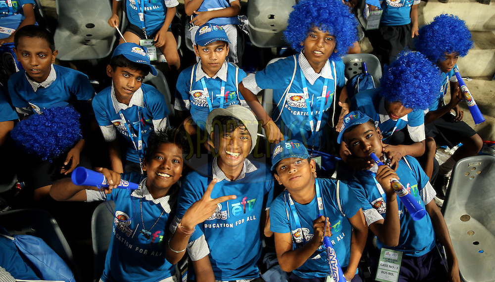NGO Kids oF Eduction For All Enjoys during match 22 of the Pepsi Indian Premier League Season 2014 between the Mumbai Indians and the Kings XI Punjab held at the Wankhede Cricket Stadium, Mumbai, India on the 3rd May  2014<br /> <br /> Photo by Sandeep Shetty / IPL / SPORTZPICS<br /> <br /> <br /> <br /> Image use subject to terms and conditions which can be found here:  http://sportzpics.photoshelter.com/gallery/Pepsi-IPL-Image-terms-and-conditions/G00004VW1IVJ.gB0/C0000TScjhBM6ikg