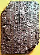 Babylonian clay tablet with text. 7th century BC. Table with syllabary.