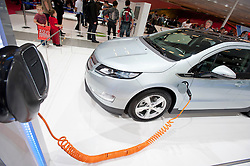 Chevrolet Volt electric car being recharged at Paris Motor Show 2010