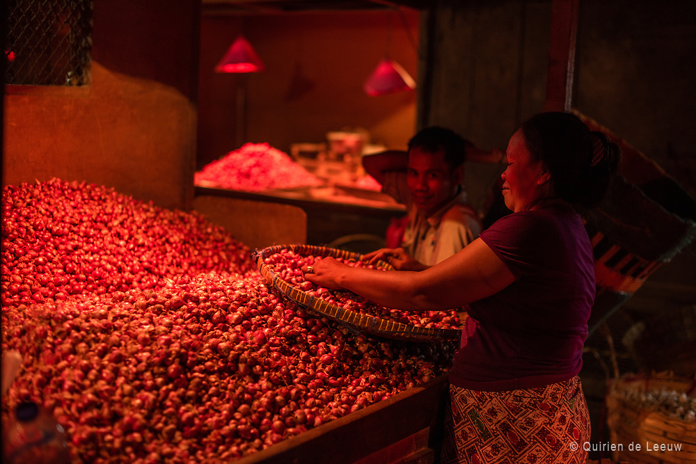 Woman sorting unions at an traditional vegetables and fruits market in Surabaya city.
