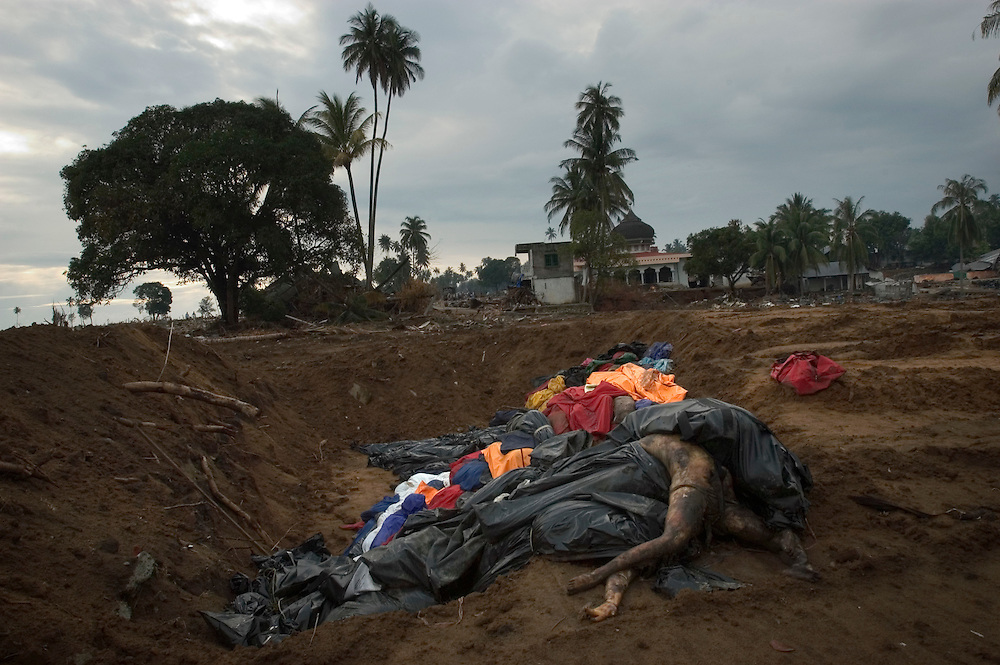 Mass grave of Tsunami victims. Lhoknga, Lamkruet. Aceh January 8 2005