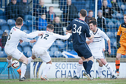Raith Rovers Dougie Hill (5) scores an own goal for Falkirk's goal.<br /> Half time : Raith Rovers 2 v 1 Falkirk, Scottish Championship game today at Starks Park.<br /> &copy; Michael Schofield.