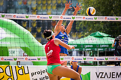 Ana Skarlovnik of team Ana in Jelena vs Monika Potokar of Sberbank during Qlandia Beach Challenge 2015 and Beach Volleyball Slovenian National Championship 2015, on July 25, 2015 in Kranj, Slovenia. Photo by Ziga Zupan / Sportida
