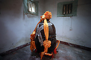 QUANZHOU, CHINA - JANUARY 10: (CHINA OUT) <br /> <br /> the vat in which monk Fuhou\'s body has been put for three and a half years at Puzhao temple on Zimao Mountain on January 10, 2016 in Quanzhou, Fujian Province of China. 94-year-old monk Fuhou died in 2012 and his body was put by the sitting position into a vat with a cover for three and a half years. Monks found that Fuhou\'s body wasn\'t rotted on an opening vat rite on January 10 at Puzhao temple on Zimao Mountain in Quanzhou. The body would be cleaned and stuck with gold to be made into a golden Buddha. <br /> ©Exclusivepix Media