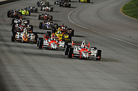 Ryan Briscoe leads the start of the Peak Antifreeze and Motor Oil Indy 300, Chicagoland Speedway, Joliet, IL USA