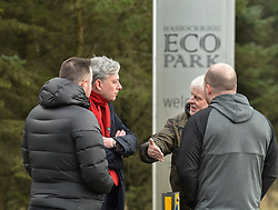 Pictured: Scottish Labour leader Richard Leonard met former workers outside the former headquarters.<br /> <br /> Former staff at collapsed Healthcare Environmental Services, which went into liquidation in December, rallied outside the company's former headquarters in Shotts, Lanarkshire to demand pay they say they are due. The firm hit the headlines last year after investigations found piles of clinical waste, including body parts, waiting to be disposed off, which led to a criminal investigation and the company losing many of it's contracts with health boards.<br /> <br /> &copy; Dave Johnston / EEm