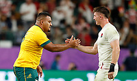 Rugby Union - 2019 Rugby World Cup - Quarter-Final: England vs. Australia<br /> <br /> Taniela Tupou of Australia and Tom Curry of England at Oita Stadium, Oita Prefecture.<br /> <br /> COLORSPORT/LYNNE CAMERON