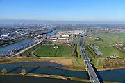 Nederland, Utrecht, Nieuwegein, 07-02-2018; Lekbrug in A27 over De Lek, brug Hagestein (Hagesteinsebrug). Uiterwaarden bij hoogwater. Zicht op het Lekkkanaal met Prinses Beatrixsluizen.<br /> Lekbridge A27, river Lek bridge Hagestein<br /> <br /> luchtfoto (toeslag op standard tarieven);<br /> aerial photo (additional fee required);<br /> copyright foto/photo Siebe Swart