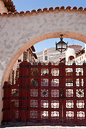 Scotty's Castle iconic red gate - Death Valley National Park, California