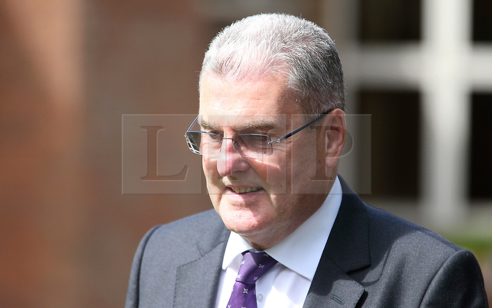 © Licensed to London News Pictures. 09/08/2017. Warrington, UK. Former Sheffield Wednesday secretary and safety officer Graham Mackrell leaves Warrington Magistrates Court. Former West Yorkshire Police Chief Sir Norman Bettison, former police officers Donald Denton and Alan Foster, South Yorkshire Police solicitor Peter Metcalf, and former Sheffield Wednesday secretary and safety officer Graham Mackrell are appearing at Warrington Magistrates Court today to face charges relating to the Hillsborough tragedy where 96 people died in 1989. Photo credit: Andrew McCaren/LNP