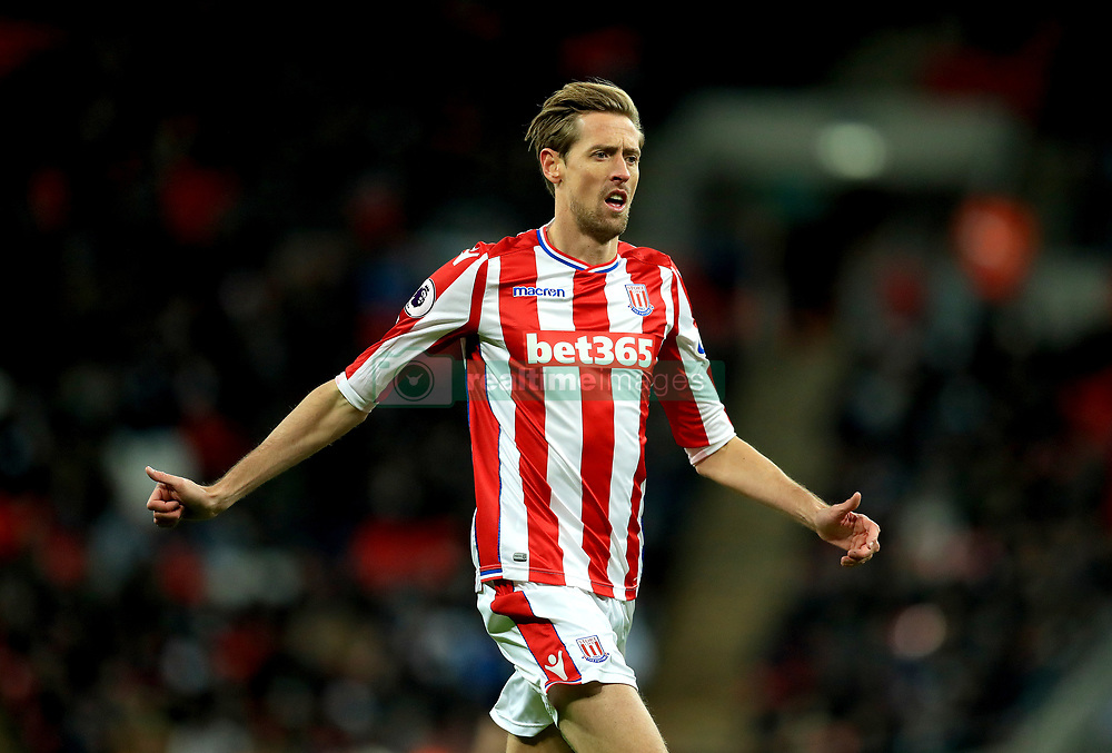 """Stoke City's Peter Crouch during the Premier League match at Wembley Stadium, London. PRESS ASSOCIATION Photo. Picture date: Saturday December 9, 2017. See PA story SOCCER Tottenham. Photo credit should read: Adam Davy/PA Wire. RESTRICTIONS: EDITORIAL USE ONLY No use with unauthorised audio, video, data, fixture lists, club/league logos or """"live"""" services. Online in-match use limited to 75 images, no video emulation. No use in betting, games or single club/league/player publications."""