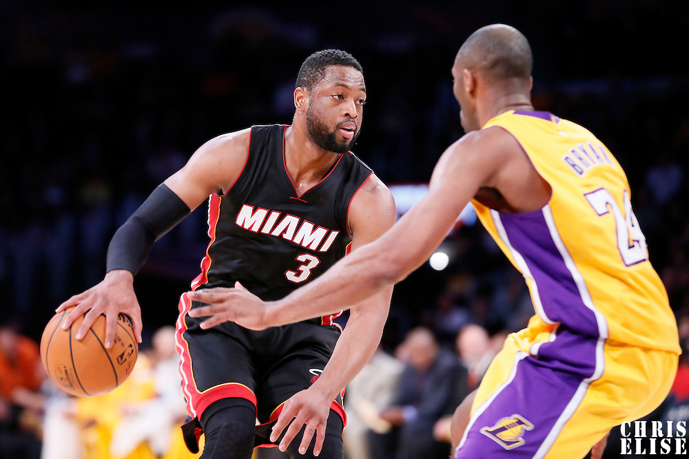 13 January 2014: Miami Heat guard Dwyane Wade (3) dribbles during the Miami Heat 78-75 victory over the Los Angeles Lakers, at the Staples Center, Los Angeles, California, USA.