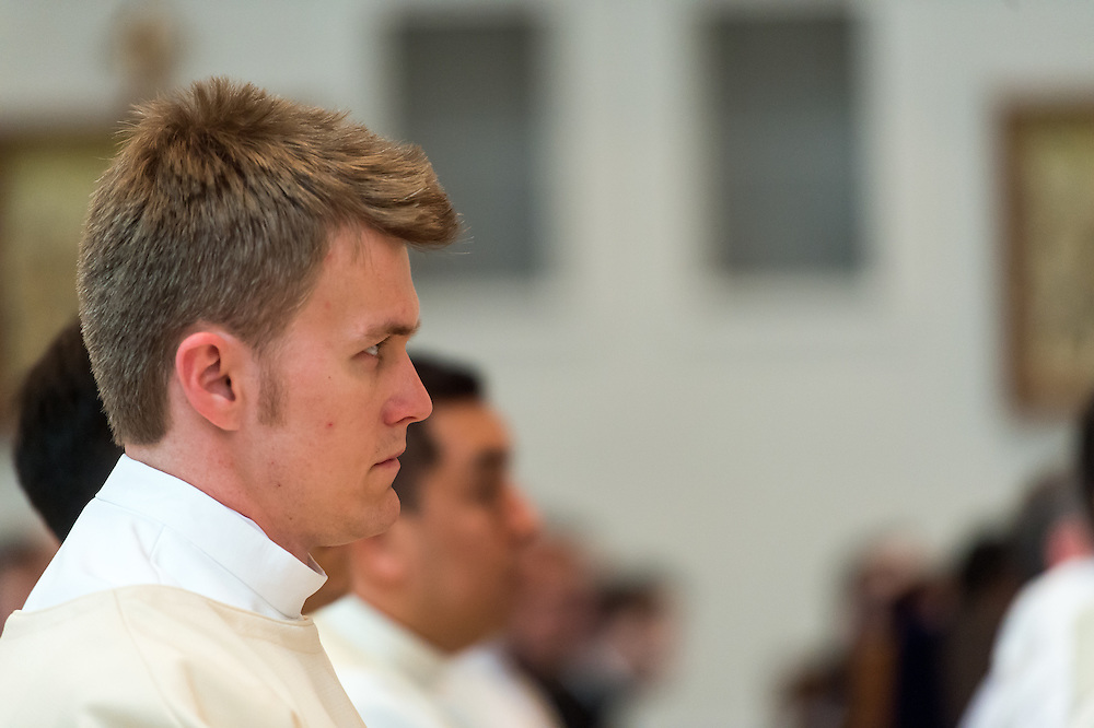DENVER, CO - MAY 16: The Rev. Tomasz Strzebonski looks on during his priest ordination for the Archdiocese of Denver at the Cathedral Basilica of the Immaculate Conception on May 16, 2015, in Denver, Colorado. (Photo by Daniel Petty/Denver Catholic Register)