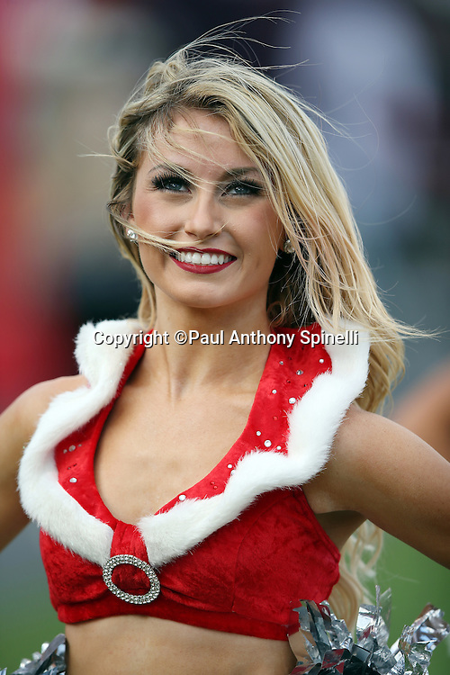 A Tampa Bay Buccaneers cheerleader smiles while wearing a Christmas outfit before the 2015 week 14 regular season NFL football game against the New Orleans Saints on Sunday, Dec. 13, 2015 in Tampa, Fla. The Saints won the game 24-17. (©Paul Anthony Spinelli)