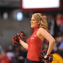 Jan 31, 2009; Piscataway, NJ, USA; A member of the Rutgers University Dance Team performs during a timeout in the first half of South Florida's 59-56 victory over Rutgers in NCAA women's college basketball at the Louis Brown Athletic Center