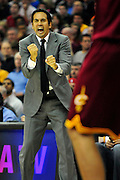 Dec. 2, 2010; Cleveland, OH, USA;  Miami Heat head coach Erik Spoelstra yells to his players during the second quarter of the game against the Cleveland Cavaliers at Quicken Loans Arena. Mandatory Credit: Jason Miller-US PRESSWIRE