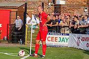 Luke Summerfield during the Friendly match between York City and Leeds United at Bootham Crescent, York, England on 15 July 2015. Photo by Simon Davies.