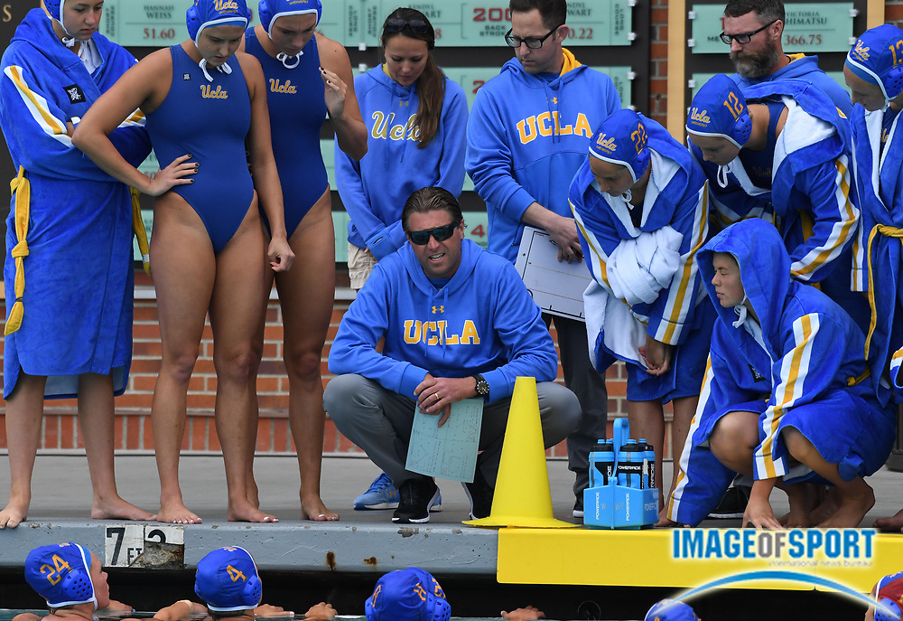 UCLA Bruins coach Adam Wright reacts against the Pacific Tigers during an NCAA college women's water polo quarterfinal game in Los Angeles, Friday, May 11, 2018. UCLA defeated Pacific, 8-4.