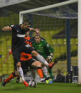 Picture by David Horn/Focus Images Ltd +44 7545 970036<br /> 13/09/2013<br /> Ryan Leonard of Southend United flicks the ball on at a near post corner during the Sky Bet League 2 match at Roots Hall, Southend.