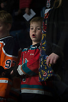 KELOWNA, CANADA - JANUARY 30: A young fan sings O'Canada at the Kelowna Rockets against the Medicine Hat Tigers on January 30, 2017 at Prospera Place in Kelowna, British Columbia, Canada.  (Photo by Marissa Baecker/Shoot the Breeze)  *** Local Caption ***