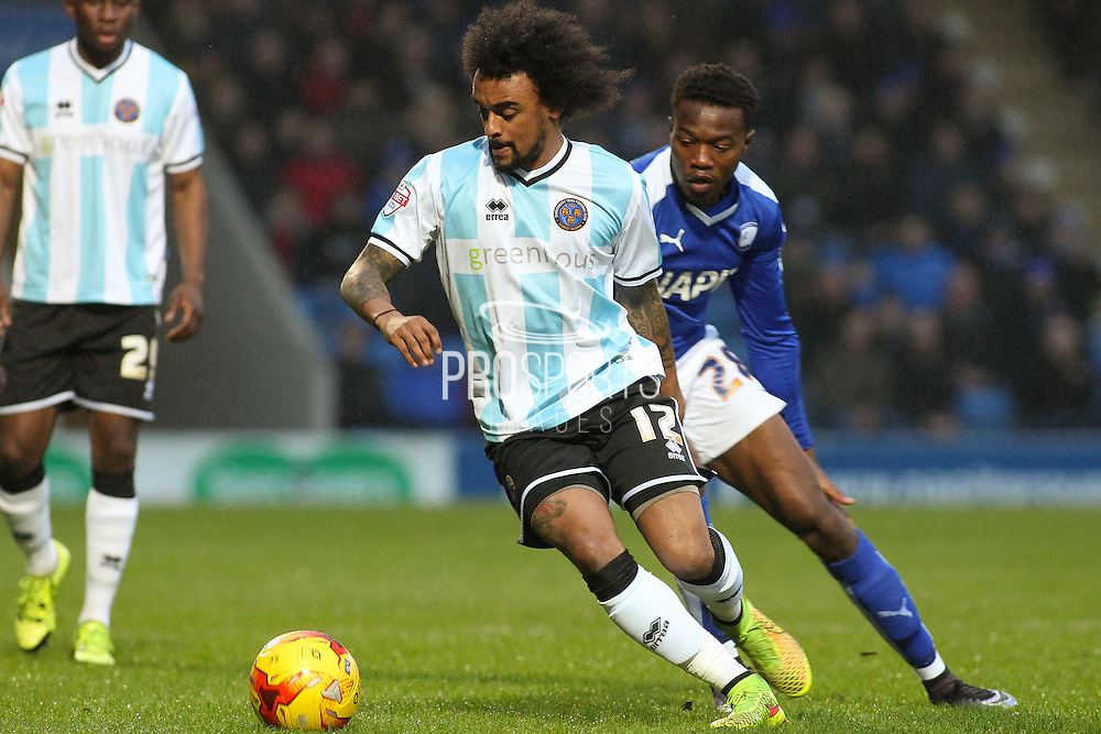Shrewsbury Town FC midfielder Junior Brown on the ball during the Sky Bet League 1 match between Chesterfield and Shrewsbury Town at the Proact stadium, Chesterfield, England on 2 January 2016. Photo by Aaron Lupton.