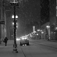Snowy night on Gay Street in downtown Knoxville, TN. Feb. 12, 2014.