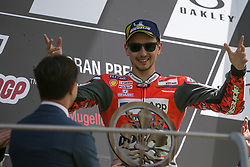 June 3, 2018 - Mugello, FI, Italy - Jorge Lorenzo of Ducati Team celebrate the victory of the MotoGP Oakley Grand Prix of Italy, at International  Circuit of Mugello, on May 31, 2018 in Mugello, Italy  (Credit Image: © Danilo Di Giovanni/NurPhoto via ZUMA Press)