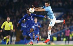 Chelsea's Callum Hudson-Odoi (left) and Malmo's Behrang Safari battle for the ball