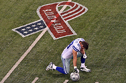 Sept 11, 2011; East Rutherford, NJ, USA;  Dallas Cowboys tight end John Phillips (89) reflects before their game against the New York Jets at the MetLife Stadium.
