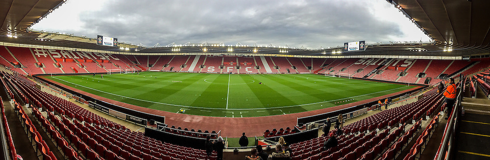 Inside Stadium shot of the St.Mary's Stadium before the Barclays U21 Premier League match between U21 Southampton and U21 Manchester United at the St Mary's Stadium, Southampton, England on 25 April 2016. Photo by Phil Duncan.