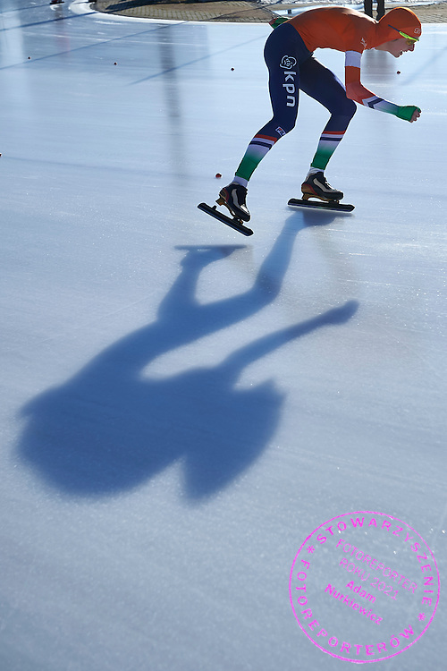 Melissa Wijfje from the Netherlands competes in the women's 1500 meters final during First Day of the ISU Junior World Cup Speed Skating on Stegny Ice Track on February 14, 2015 in Warsaw, Poland.<br /> <br /> Poland, Warsaw, February 14, 2015<br /> <br /> Picture also available in RAW (NEF) or TIFF format on special request.<br /> <br /> For editorial use only. Any commercial or promotional use requires permission.<br /> <br /> Adam Nurkiewicz declares that he has no rights to the image of people at the photographs of his authorship.<br /> <br /> Mandatory credit:<br /> Photo by &copy; Adam Nurkiewicz / Mediasport