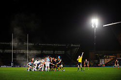 The referee blows for a penalty as the two sides scrum down during the second half of the match - Photo mandatory by-line: Rogan Thomson/JMP - Tel: 07966 386802 - 17/10/2013 - SPORT - RUGBY UNION - Adams Park Stadium, High Wycombe - London Wasps v Bayonne - Amlin Challenge Cup Round 2.