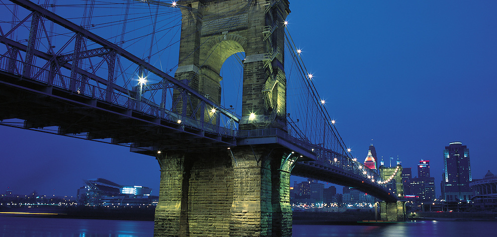Ohio. John A. Roebling Bridge spanning Ohio River between Covington, Kentucky and Cincinnati, Ohio. It was the world's longest bridge (1057 feet) at the time of completion in 1867