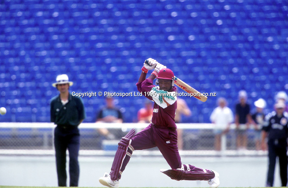 West Indies batsman Brian Lara in action during the international cricket ODI match between the West Indies and New Zealand, 1995/1996. Photo: Andrew Cornaga/PHOTOSPORT<br />