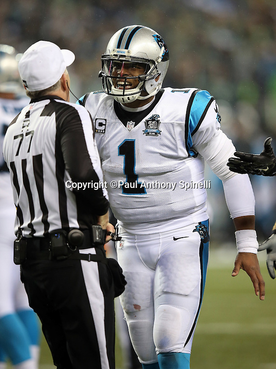 Carolina Panthers quarterback Cam Newton (1) complains to referee Terry McAulay (77) on a fourth quarter penalty subsequently ruled as no penalty during the NFL week 19 NFC Divisional Playoff football game against the Seattle Seahawks on Saturday, Jan. 10, 2015 in Seattle. The Seahawks won the game 31-17. ©Paul Anthony Spinelli