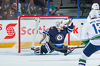 PENTICTON, CANADA - SEPTEMBER 8: Mikhail Berdin #60 of the Winnipeg Jets makes a save against the Vancouver Canucks on September 8, 2017 at the South Okanagan Event Centre in Penticton, British Columbia, Canada.  (Photo by Marissa Baecker/Shoot the Breeze)  *** Local Caption ***