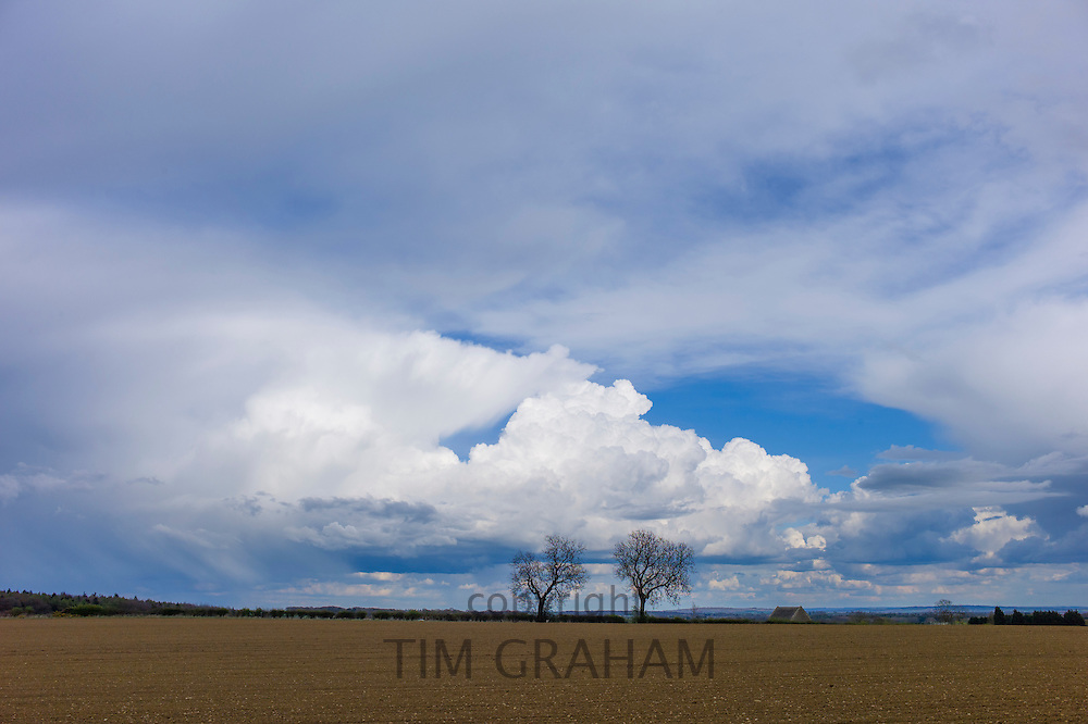 Cloud formation Towering Cumulus (centre) Cumulonimbus (left) and Cirrus at high altitude (right) at Swinbrook in the Cotswolds, UK