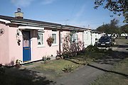 Pre fab housing, Ipswich, Suffolk, England. Prefabricated houses built in the nineteen forties 1940s as an emergency post war housing solution are still in use and popular with residents.