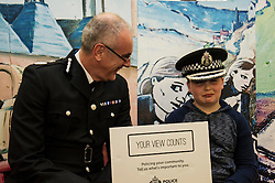 Pictured: Phil Gormley met Levi Murray (11) on his visit.<br /> Police Scotland Chief Constable Phil Gormley unveiled details of the 'Your View Counts' exercise, which will help shape policing priorities throughout the country in Edinburgh today. <br /> Ger Harley | EEm 7 April 2016