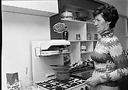 Pancake making At Ranks.   (K91)..1977..22.02.1977..02.22.1977..22nd February 1977..At Ranks experimental kitchen in Phibsborough, Dublin,Shiela Cunningham,Chief Adviser of Ranks Home Baking Service made the first pancakes of the day, today being Pancake Tuesday. While making the pancakes Ms Cunningham was surprised when an unexpected visitor dropped in. Mr Joseph Rank ,Chairman of the company ,called in to sample the first pancake of the day. He was in Dublin for the company's Annual General Meeting..Image of Shiels Cunningham making the first pancakes of the day.