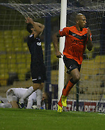 Picture by David Horn/Focus Images Ltd +44 7545 970036<br /> 13/09/2013<br /> Chris Iwelumo of  Scunthorpe United celebrates scoring the opening goal during the Sky Bet League 2 match at Roots Hall, Southend.